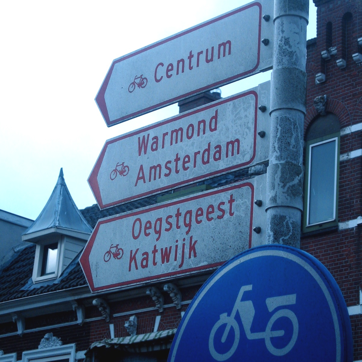 OUr first sign for Amsterdam appeared long after we'd crossed the 100-mile threshold.