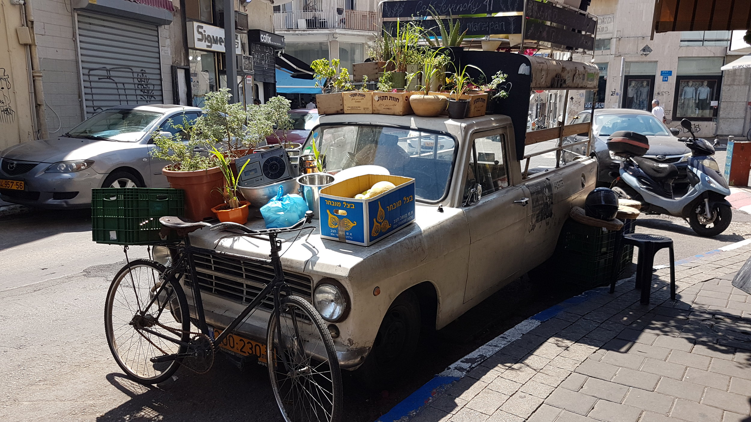Only in Southern Tel Aviv! A cafe on wheels..