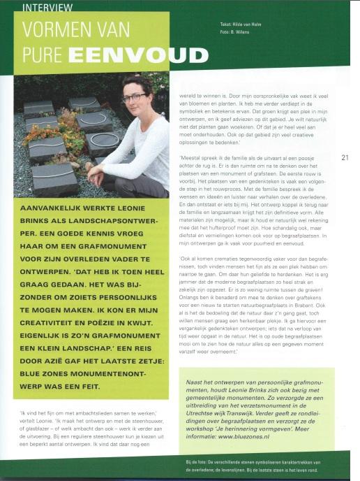 Afbeelding geplaatste interview in magazine Geloven in Nederland.