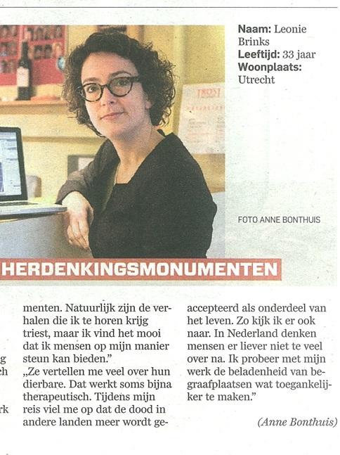 Foto van krantenartikel over het werk van Leonie Brinks in AD regio Utrecht