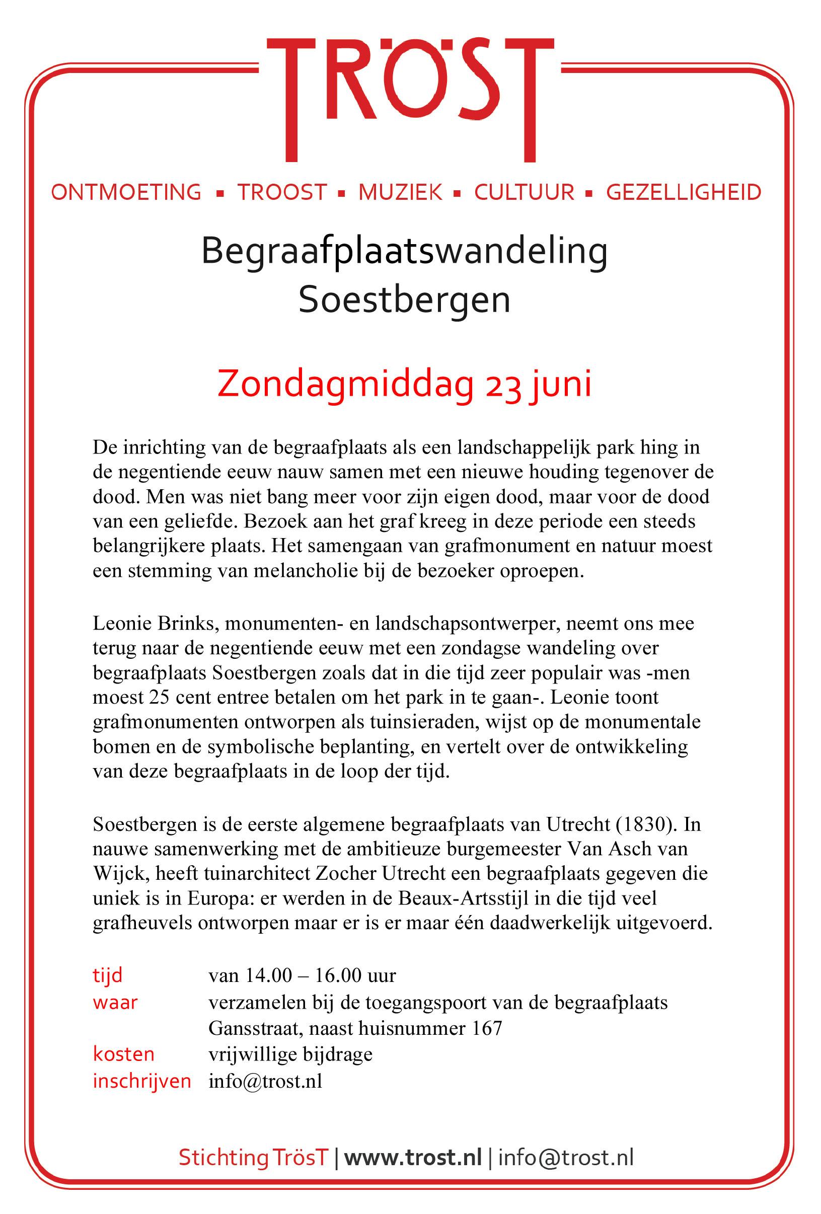 Flyer over begraafplaatswandeling op Soestbergen op 23 juni, organisatie: Stichting TrösT
