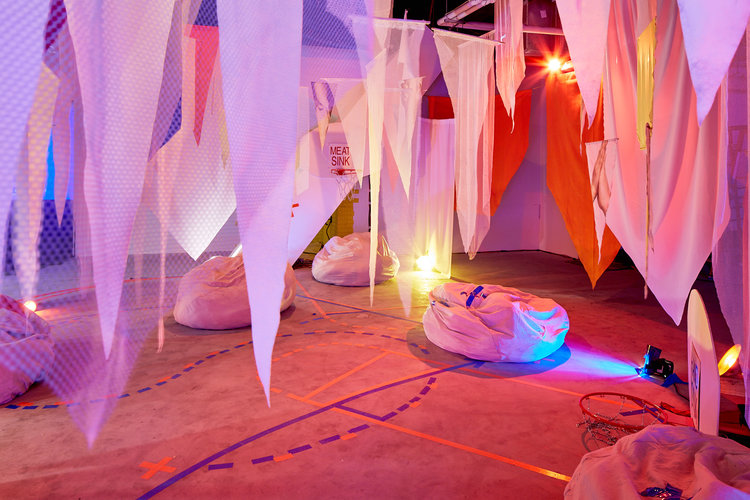 WILL PLAY FOR SPACE 2017: MEATBALL - Created by MINT collective members including yours truly, Melissa Vogley WoodsMINT Collective, Collaborative Exhibition at Springbreak's Brooklyn immersive Brooklyn, NY.MINT is a collaborative, multidisciplinary collective founded and operated by artists located in Columbus, Ohio. WILL PLAY FOR SPACE 2017: MEATBALL originated from a proposed basketball tournament in which local artist-run spaces would participate: our gallery, a former meat processing facility, transformed into a nearly full size court, Columbus' art community as players and spectators in a communal performance. MINT Collective has since vacated our former facilities, alleviating undue financial burden and mitigating friction between our physical operation and city administration. Without a home court, WILL PLAY FOR SPACE is recontextualized into a broader conversation about displacement and nomadic participation, sustainability, and alternatives to alternatives