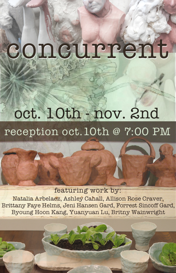 Concurrent - EASE Curated by Agnes Ray, Columbus, OhioOpening Reception October 10th, 7:00 PM – 9:00 PMShow runs October 10th through November 2ndConcurrent is a group exhibition of current member of the ceramic community at The Ohio State University. Concurrent means occurring or existing simultaneously or side by side. The artist work together side by side in a shared studio space and are now showing their work together in the gallery space. The working conversation that occurs through making in a community environment is transferred to the gallery where it will continue.Participating artists: Natalia Arbelaez, Ashley Cahall, Allison Rose Craver, Brittany Faye Helms, Jeni Hansen Gard, Forrest Sincoff Gard, Byoung Hoon Kang, Yuanyuan Lu, Britny Wainwright