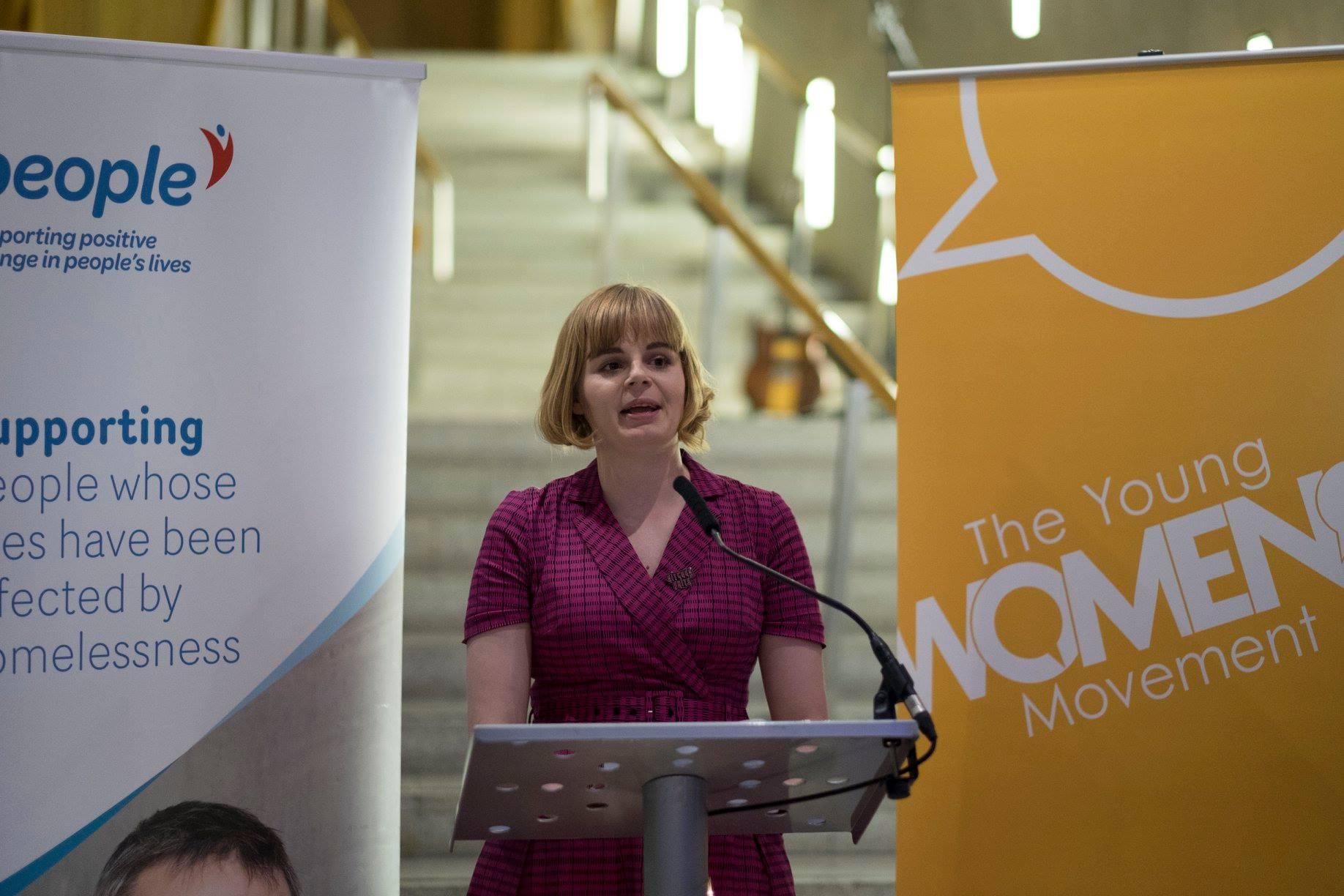 Patrycja giving a keynote speech at Scottish Parliament.