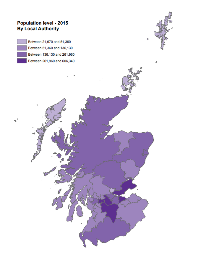Local Authority Populations as of 2015. Source:  SPICe Information Centre .