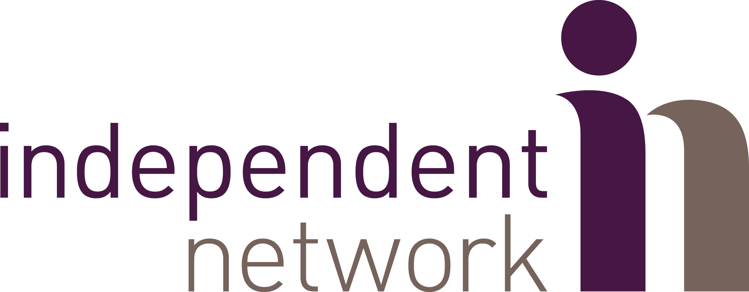 """Independent Network logo - """"independent network"""" in purple and grey text is to the left of a purple """"I"""" and a grey """"n"""""""