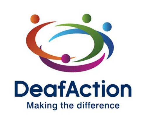 """Deaf Action logo - """"DeafAction - Making the difference"""" is in navy blue font underneath an abstract illustration representing four individuals in red, green, blue, and purple in a circle"""