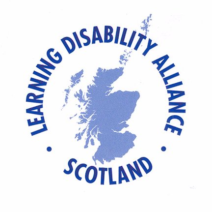 "Learning Disability Alliance Scotland logo - ""Learning Disability Alliance Scotland"" is in navy blue in a circle around a map of Scotland."