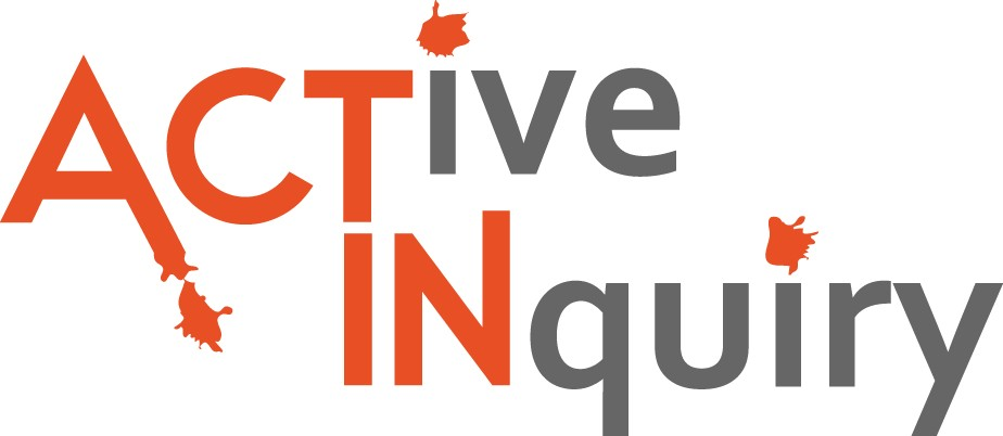 "Active Inquiry logo - the text ""Active Inquiry"" - with ""act"" and ""in"" in orange and the rest in grey - is accompanied by orange paint splatters"