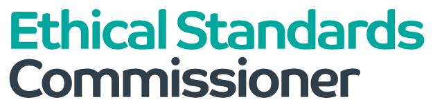 "Ethical Standards Commissioner logo - text reads ""Ethical Standards Commissioner,"" with first two words in teal and third in black"