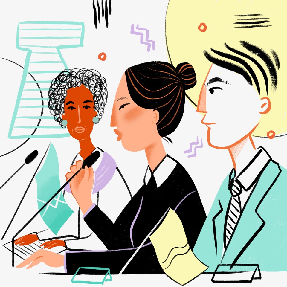 Illustration of three women speaking in microphones, seemingly at a panel discussion or press conference.