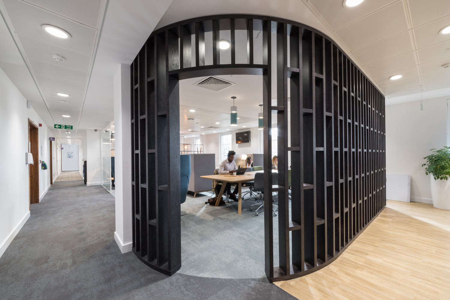 Modern Timber room divider with patterned finish