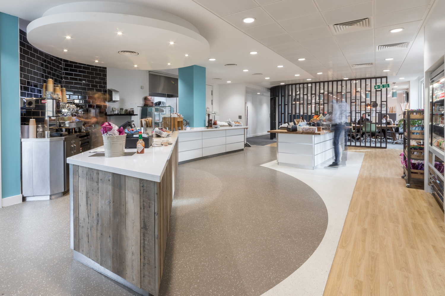 Canteen with feature timber and black tiling