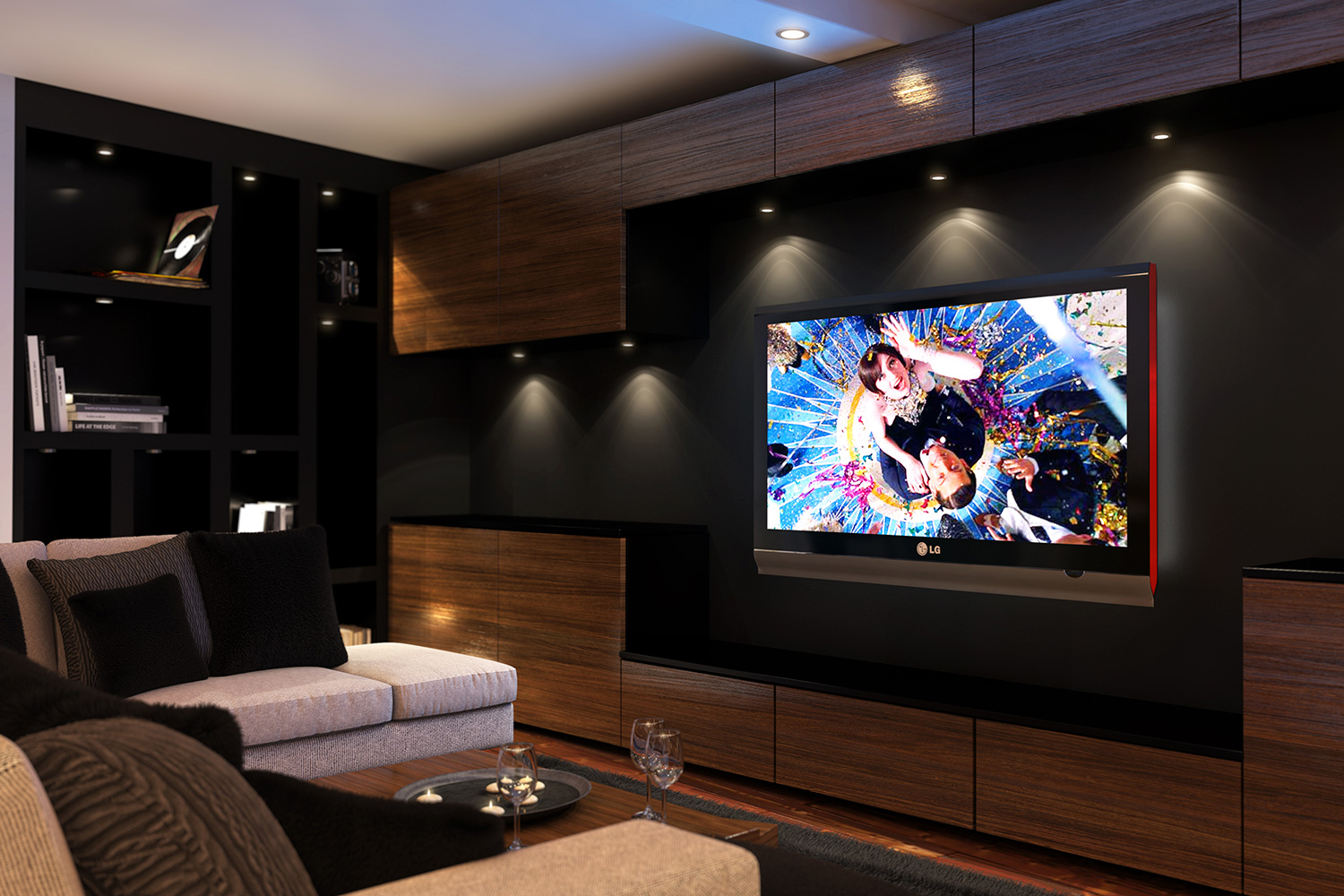 CGI visualisation Lounge with HD TV on wall, sofa, table and timber finish