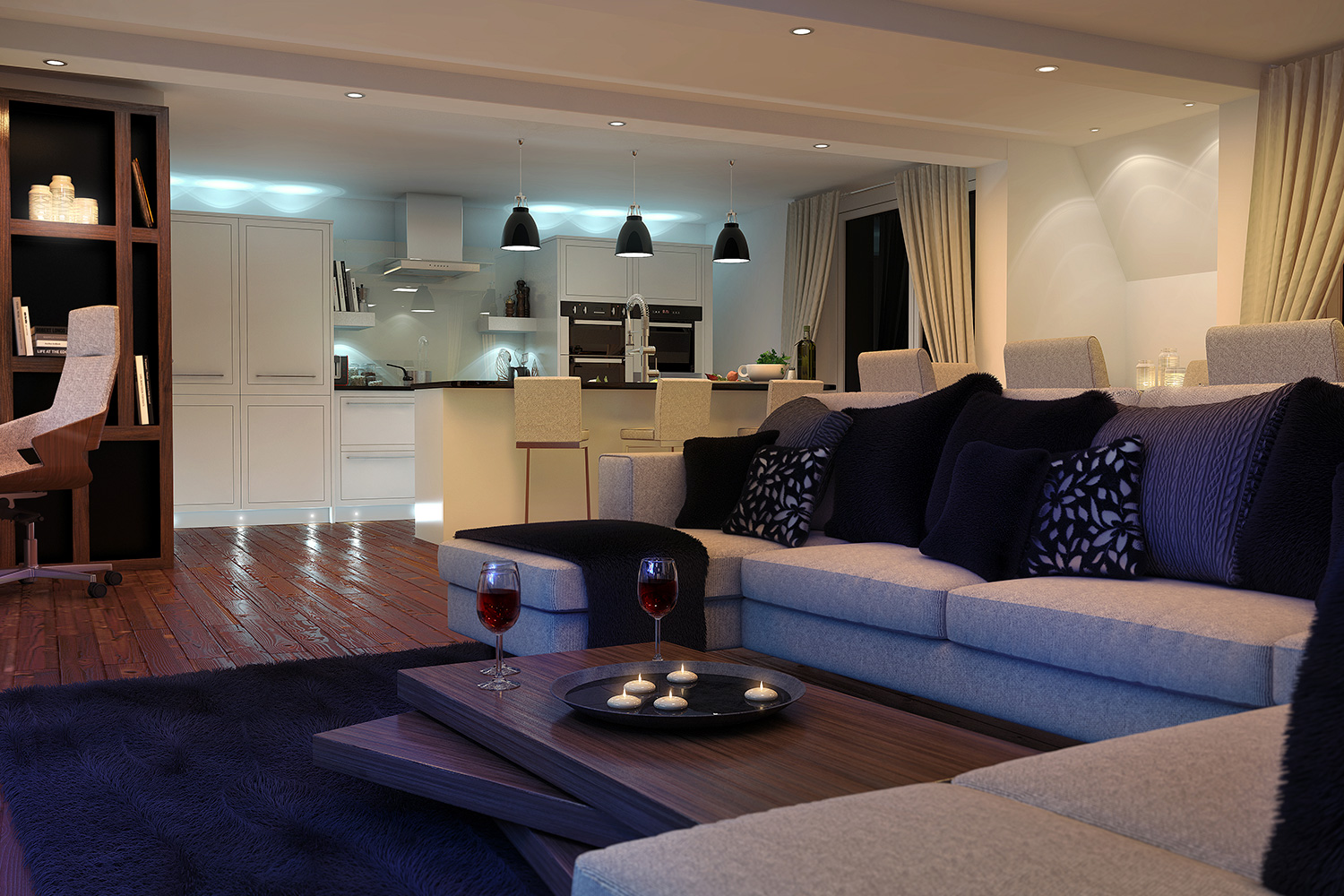 CGI visualisation Apartment with lounge and kitchen area, sofa, wood floor, candles, wine, breakfast bar