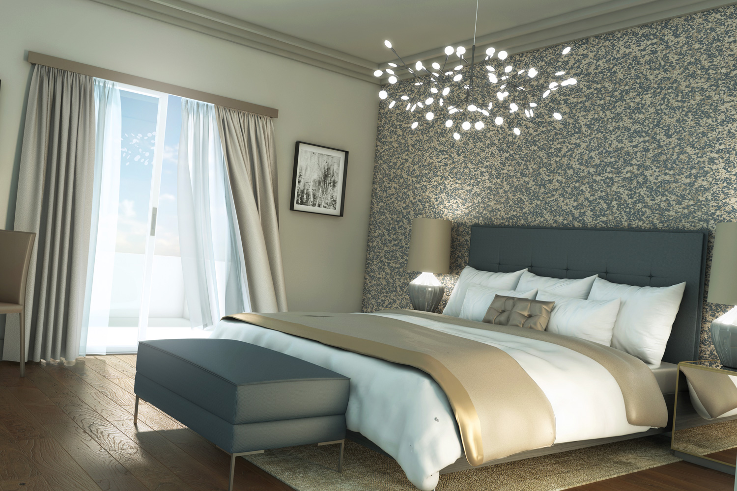 CGI Visualisation Bedroom with natural light