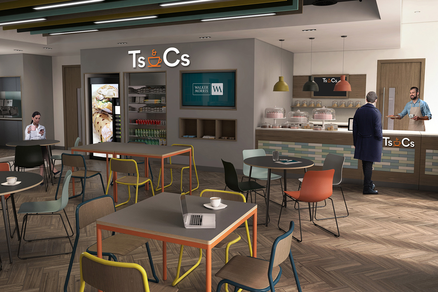 CGI visualisation Cafe servery area with blackboard, TV and vending machine