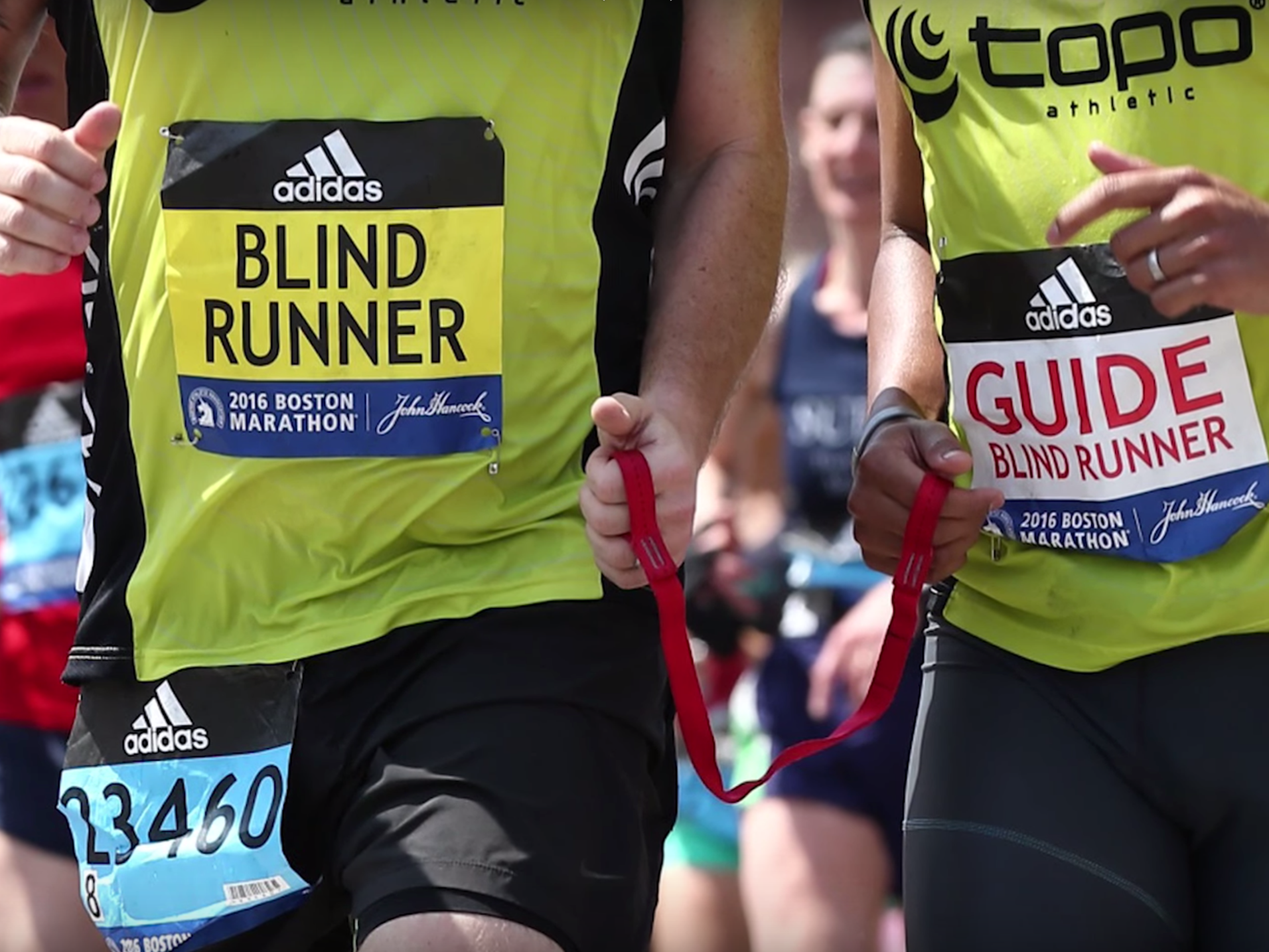 Born in Massachusetts and raised in Maine, Kyle was diagnosed with retinitis pigmentosa (RP), a degenerative eye disease that first affects your night vision and often leads to complete blindness, at age 11 and was declared legally blind at 19 - Right: Kyle finishing the 2016 Boston Marathon