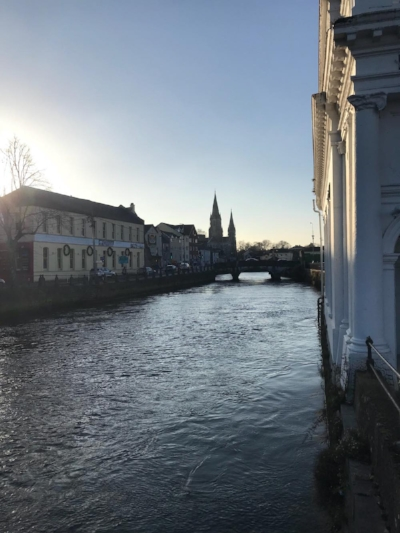 Saint Fin Barr's Cathedral from a bridge