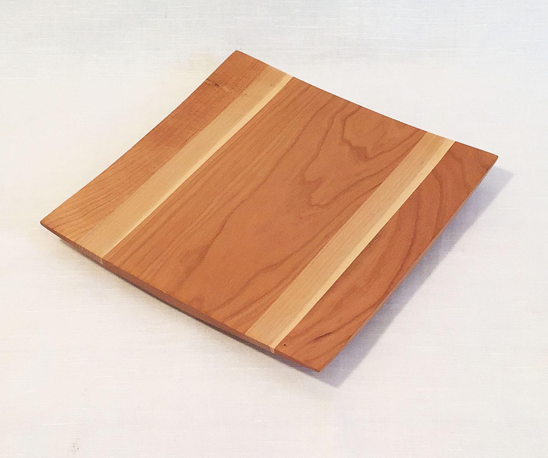 "9"" x 9"" Cherry/Maple Wing Tip Platter"