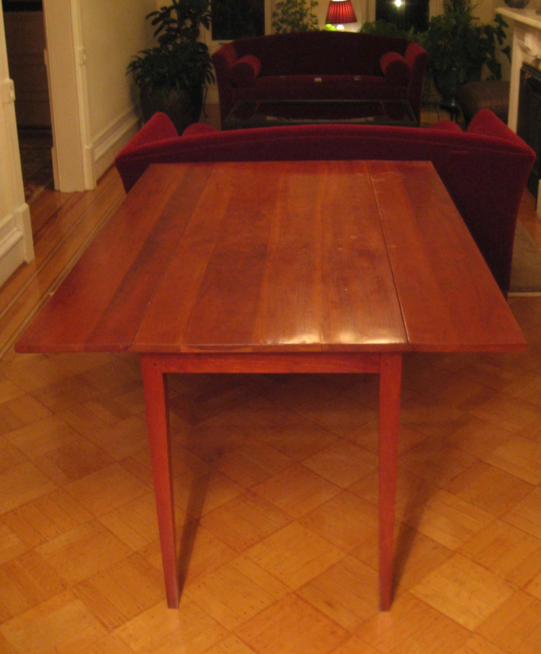 "Shaker drop leaf cherry dining table: 74"" x 36"" x 29"""