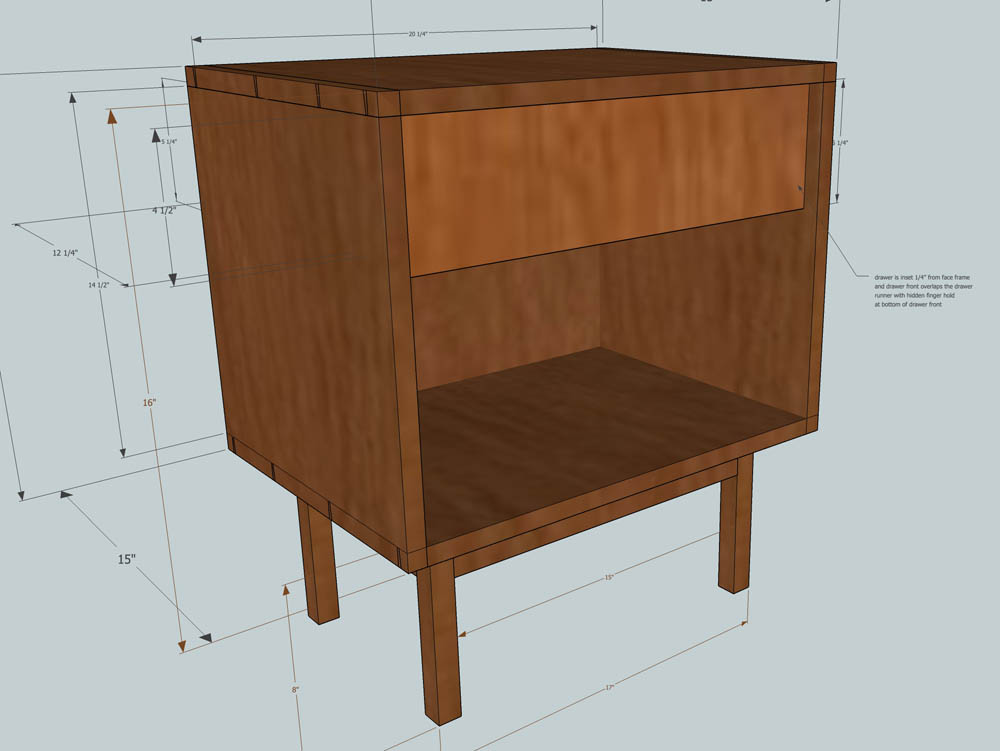 walnut side table 3d design