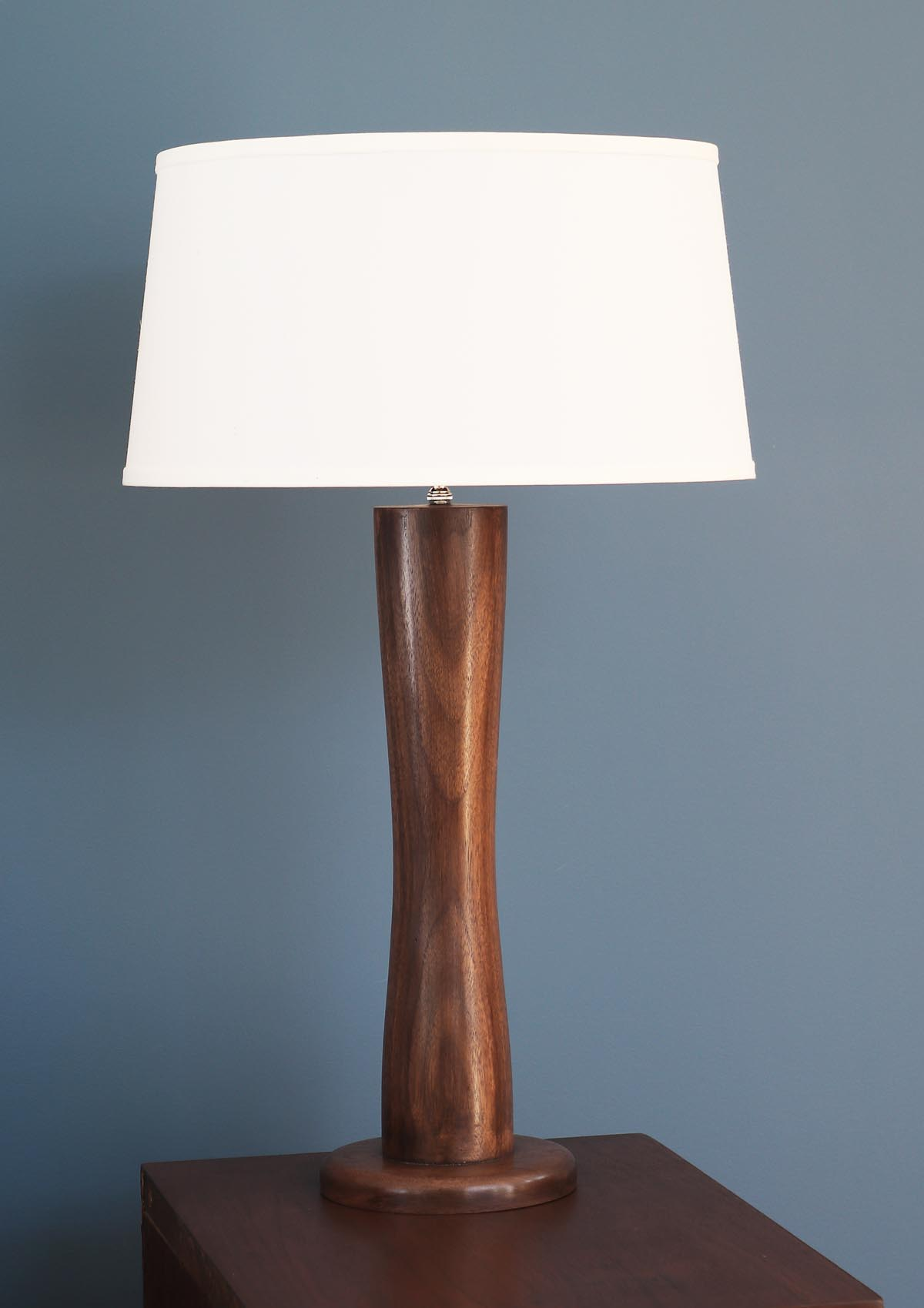Walnut Large Hand Turned Wood Lamp