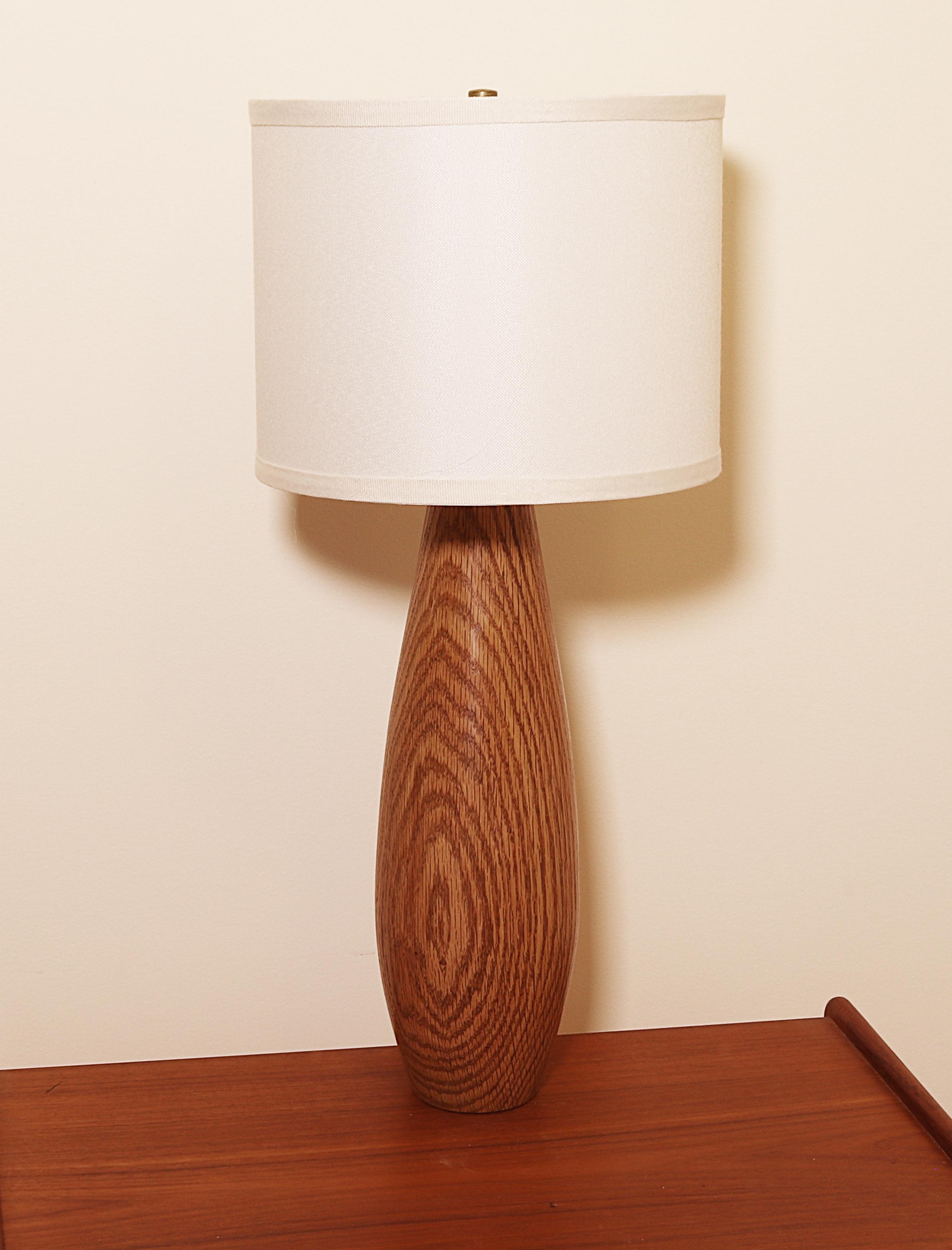 """14"""" High Hand Turned Wood Lamp in Oak"""