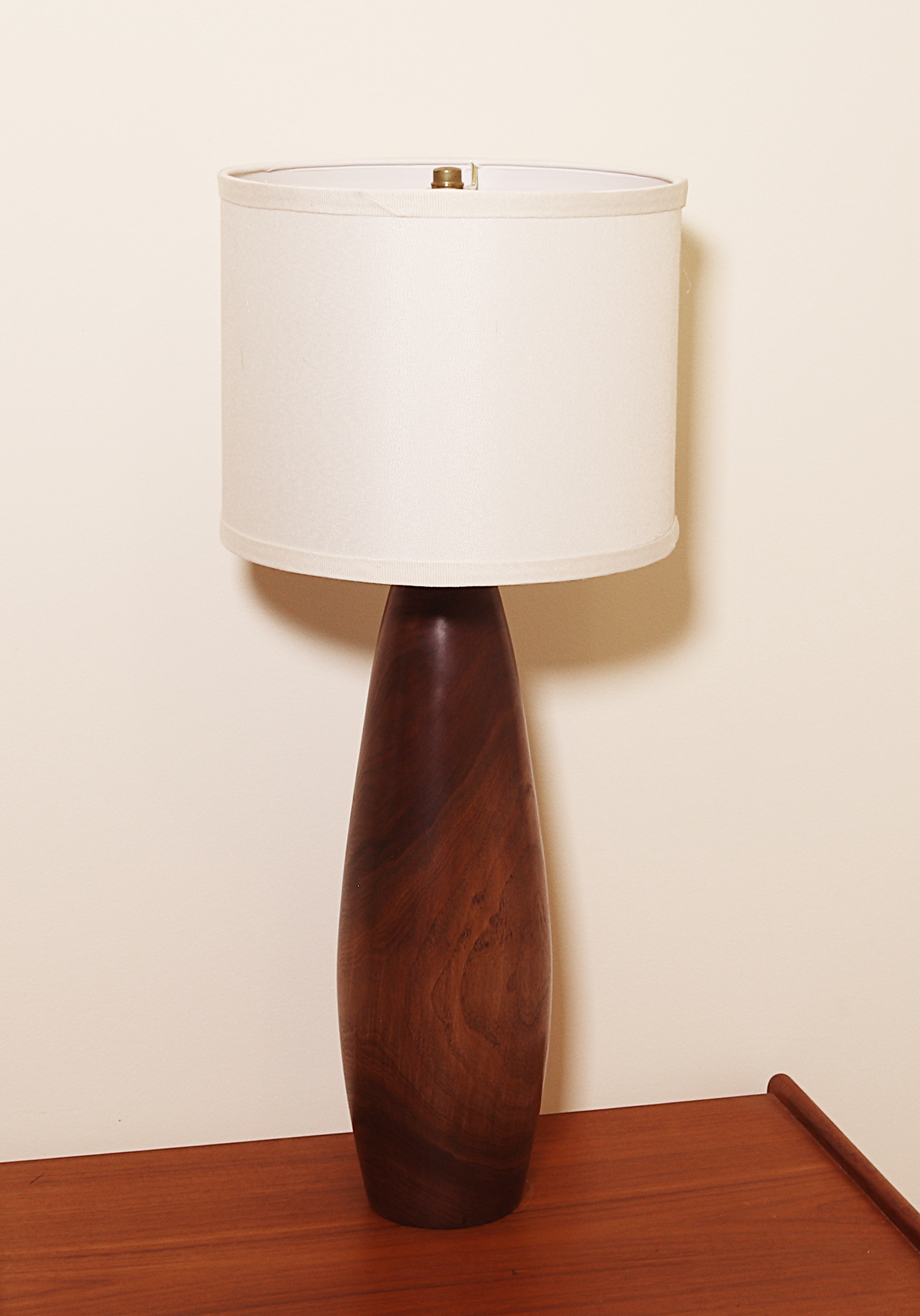"15 1/2"" high Hand Turned Wood Lamp in Walnut shown with shade"