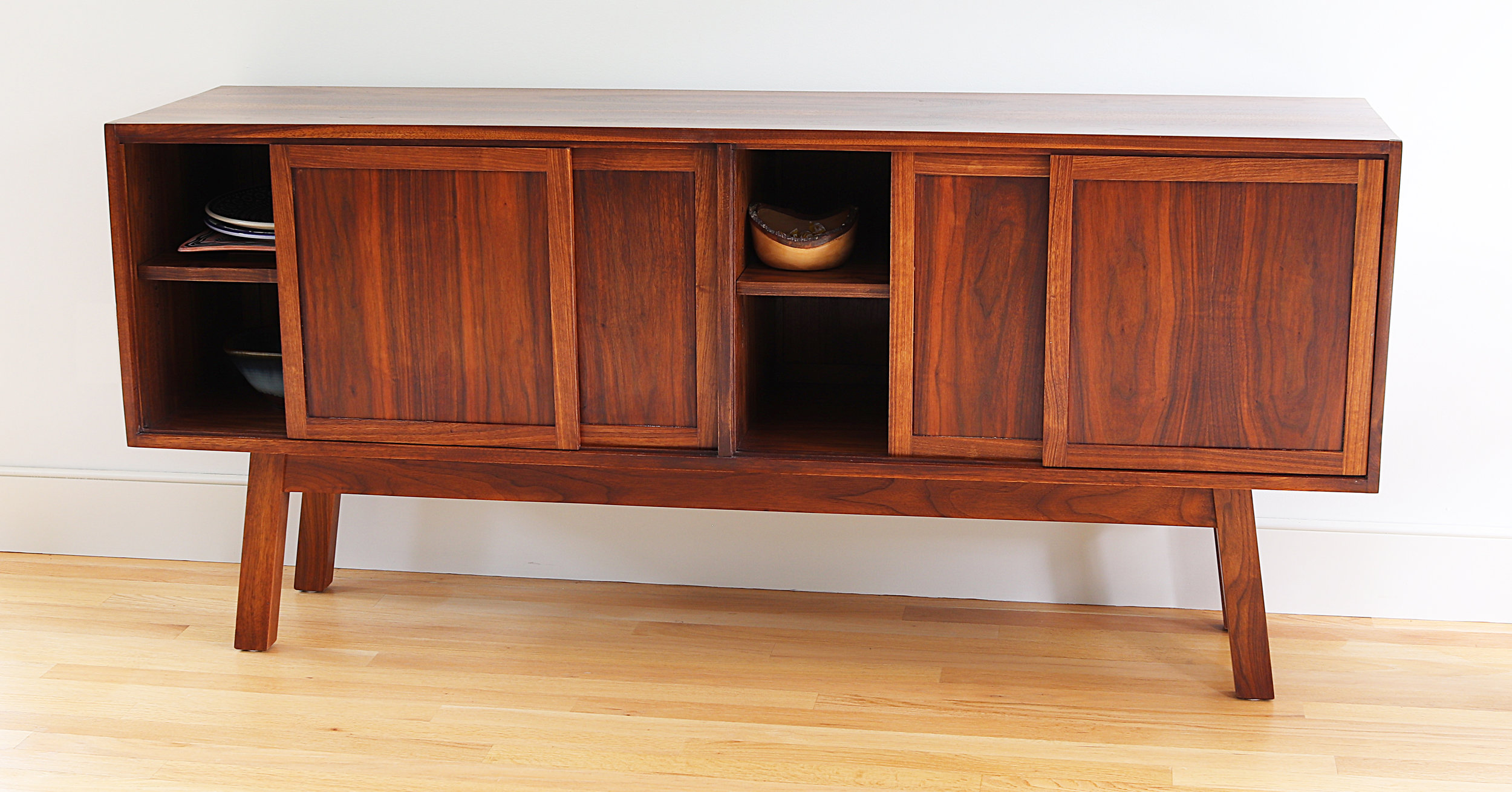 Walnut Credenza Side Board Doors Open