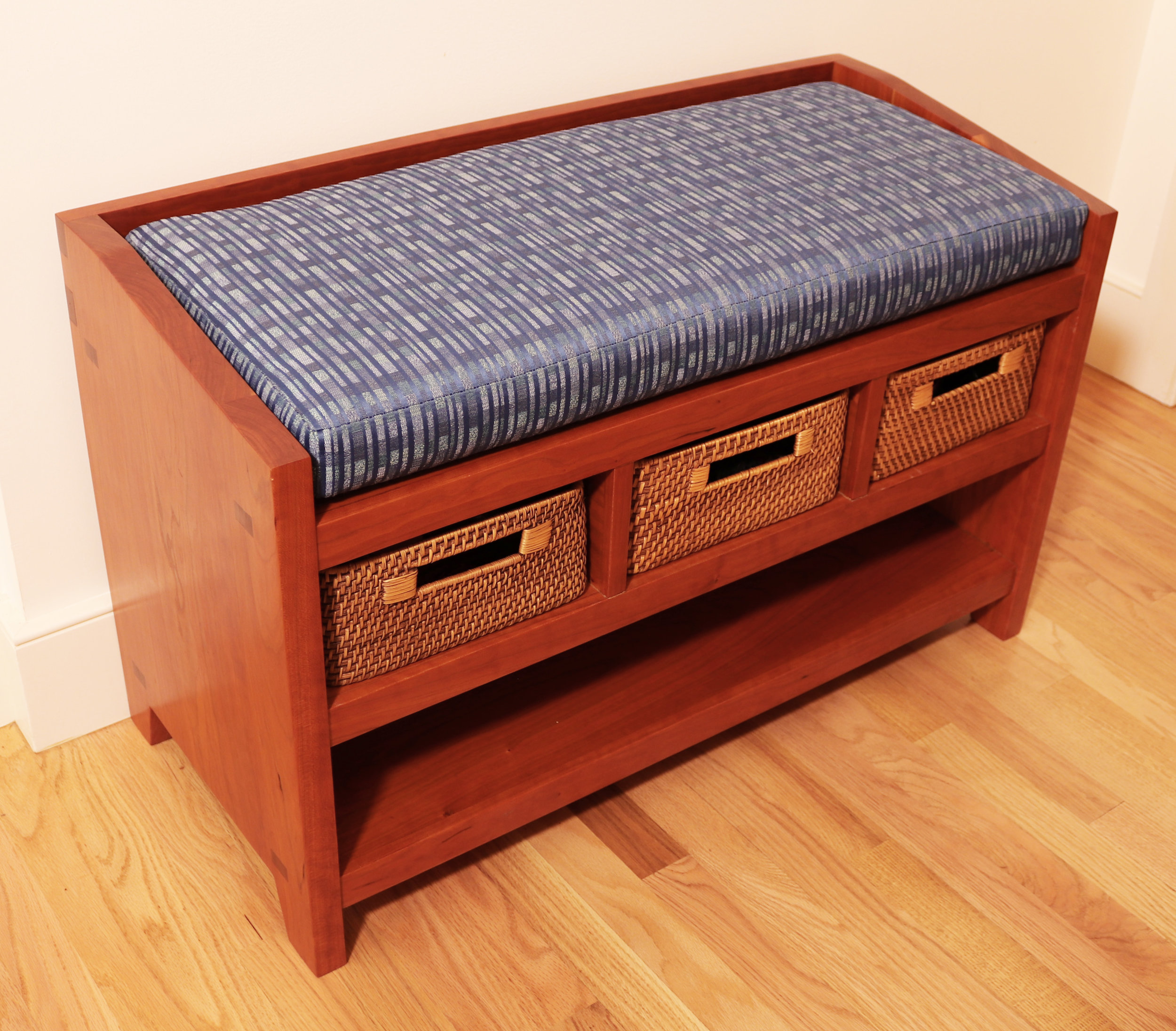 Cherry hall bench with storage with cushions
