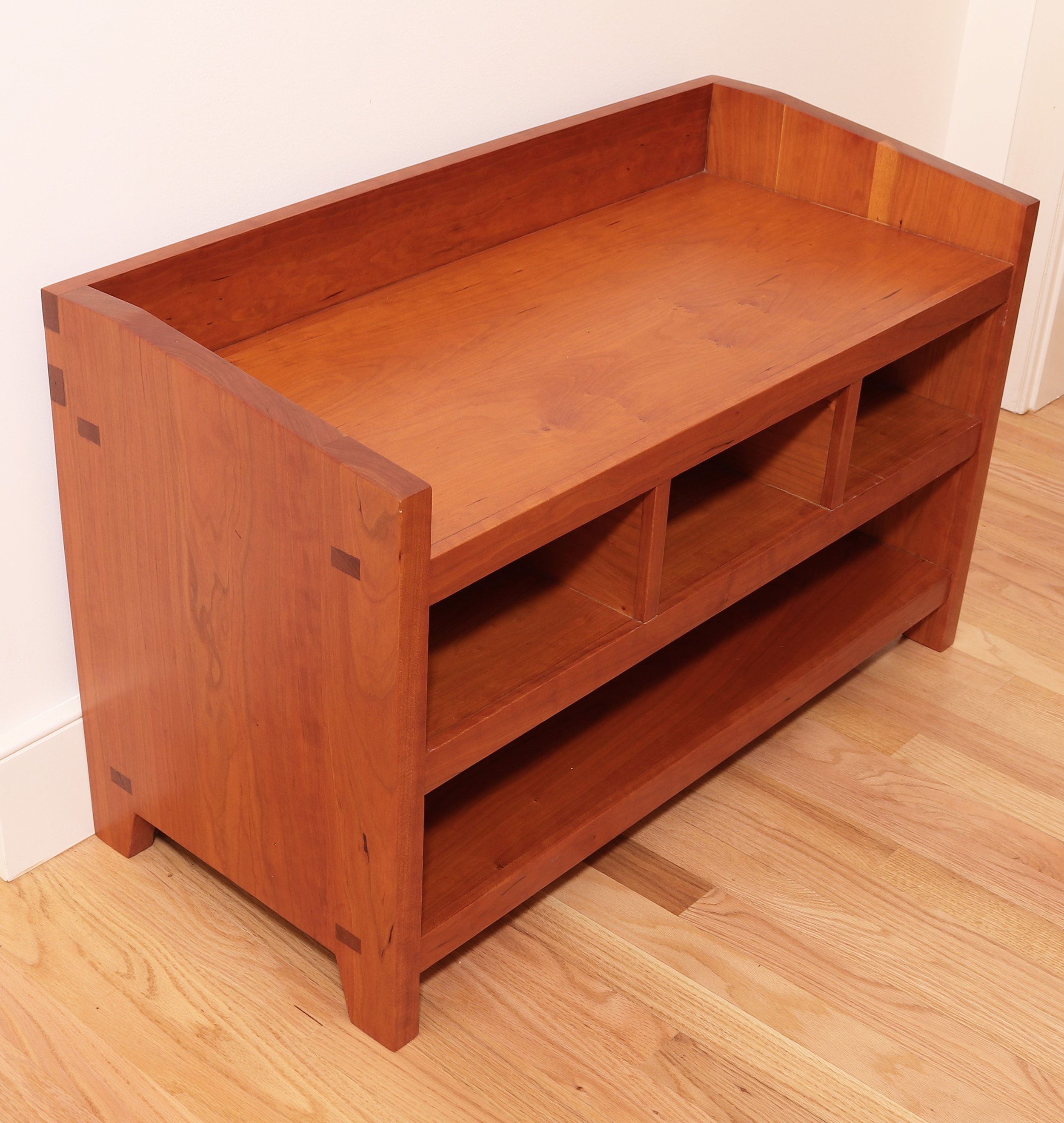 Cherry hall bench with storage