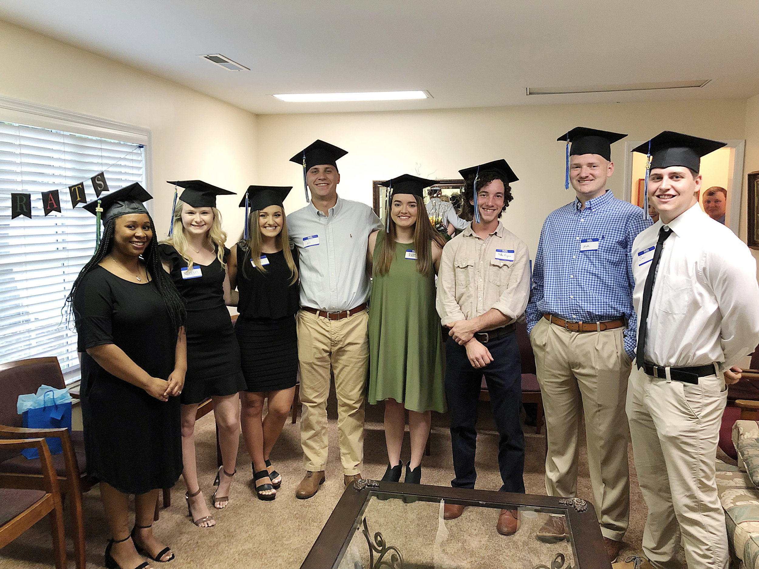 Scholars celebrated 2019 graduation with family and friends at our Graduation Celebration in May. Shown here…Saisha, Morgan, StoriLee, John Rivers, Audrey, Walter, Nick, and Zac.