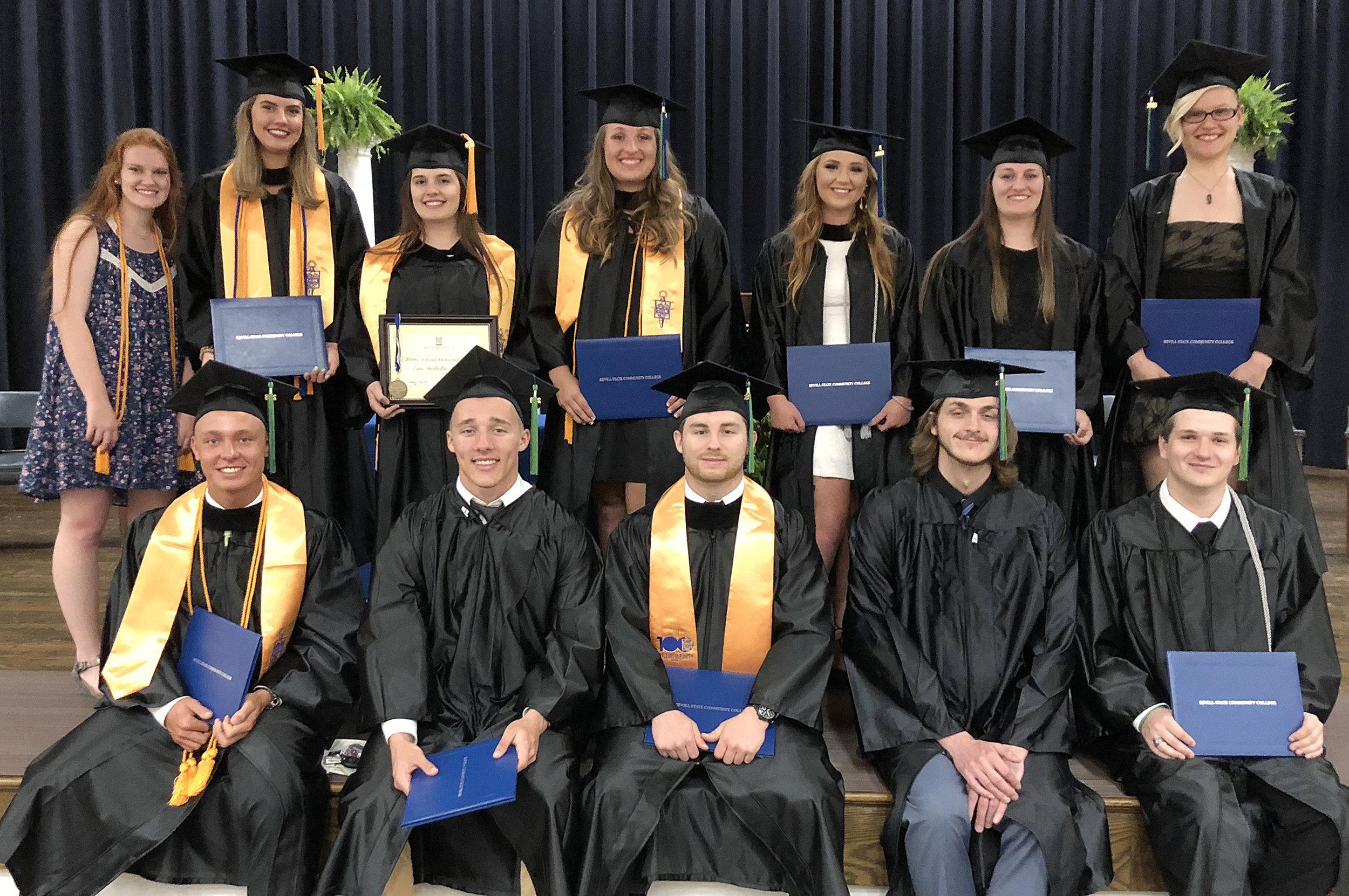 2018 Scholars Society graduates - Back row: Morgan, Ashton, Emi, Taylor, Mica, Emily, Lynzi. Front row: Jonah Trotter, Brady, Colton, Jacob, Justin. Not pictured: Walker, Madisyn, Kennedy, Anna, Joshua, Landi, Jonah Guthrie, Trenton, Rebecca, and Gracie.