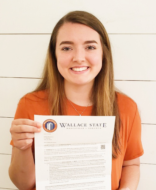 Audrey receives her acceptance letter into the Occupational Therapy Assistant program at Wallace State Community College in Hanceville!
