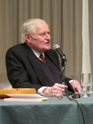 John Ashbery speaking to high school students at the trinity school in manhattan