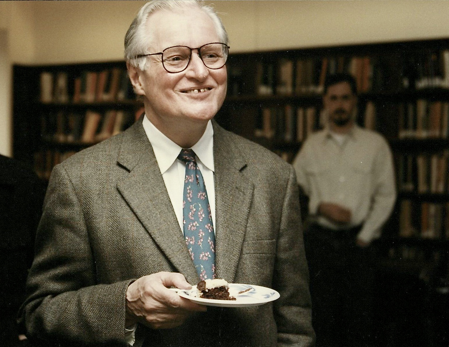 John Ashbery's 70th birthday celebration at the Poetry Room in 1997.