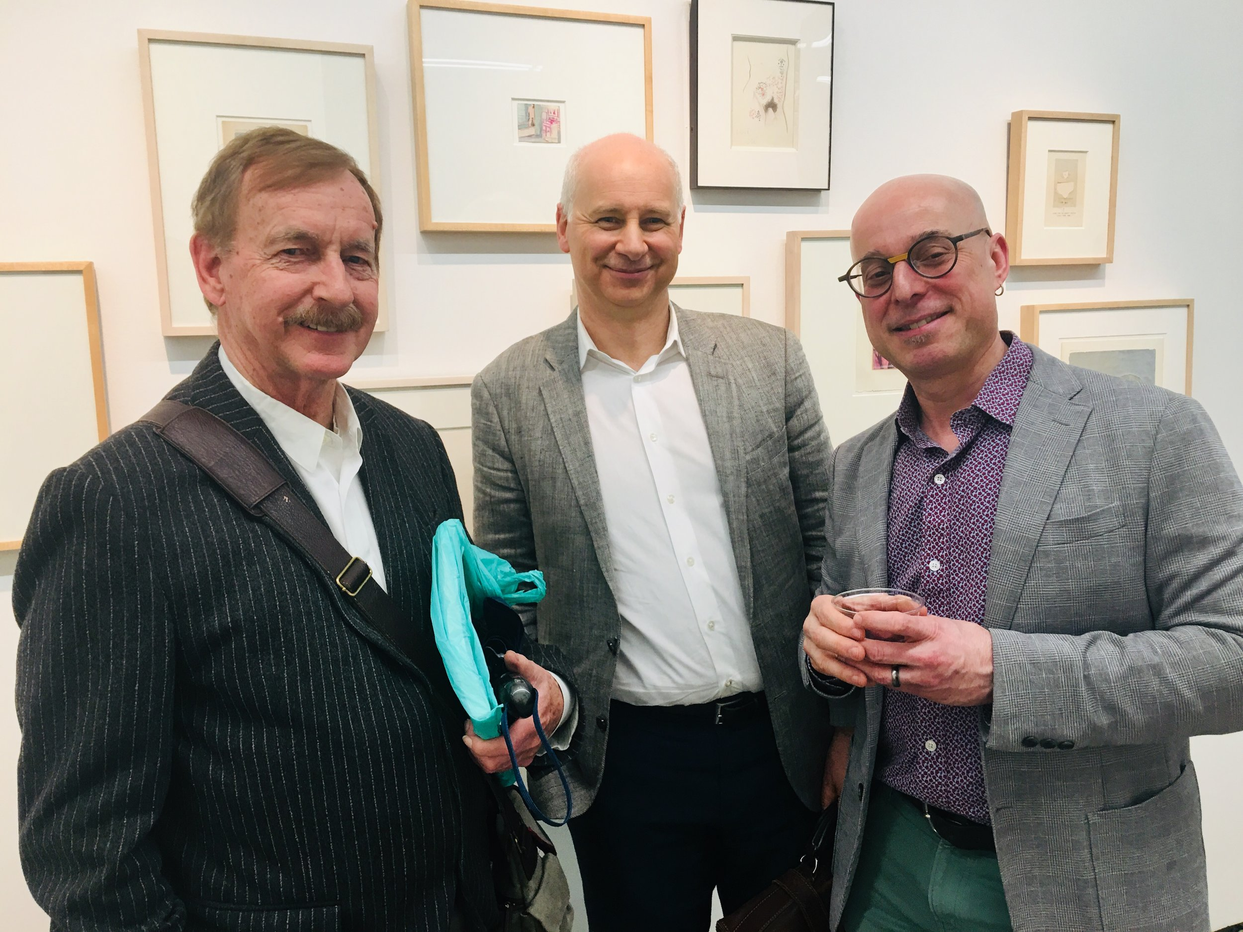 (from l to r) Trevor Winkfield and Mark Polizzotti, with jeffrey lependorf, at the Tibor de nagy Gallery (photo credit: star black)