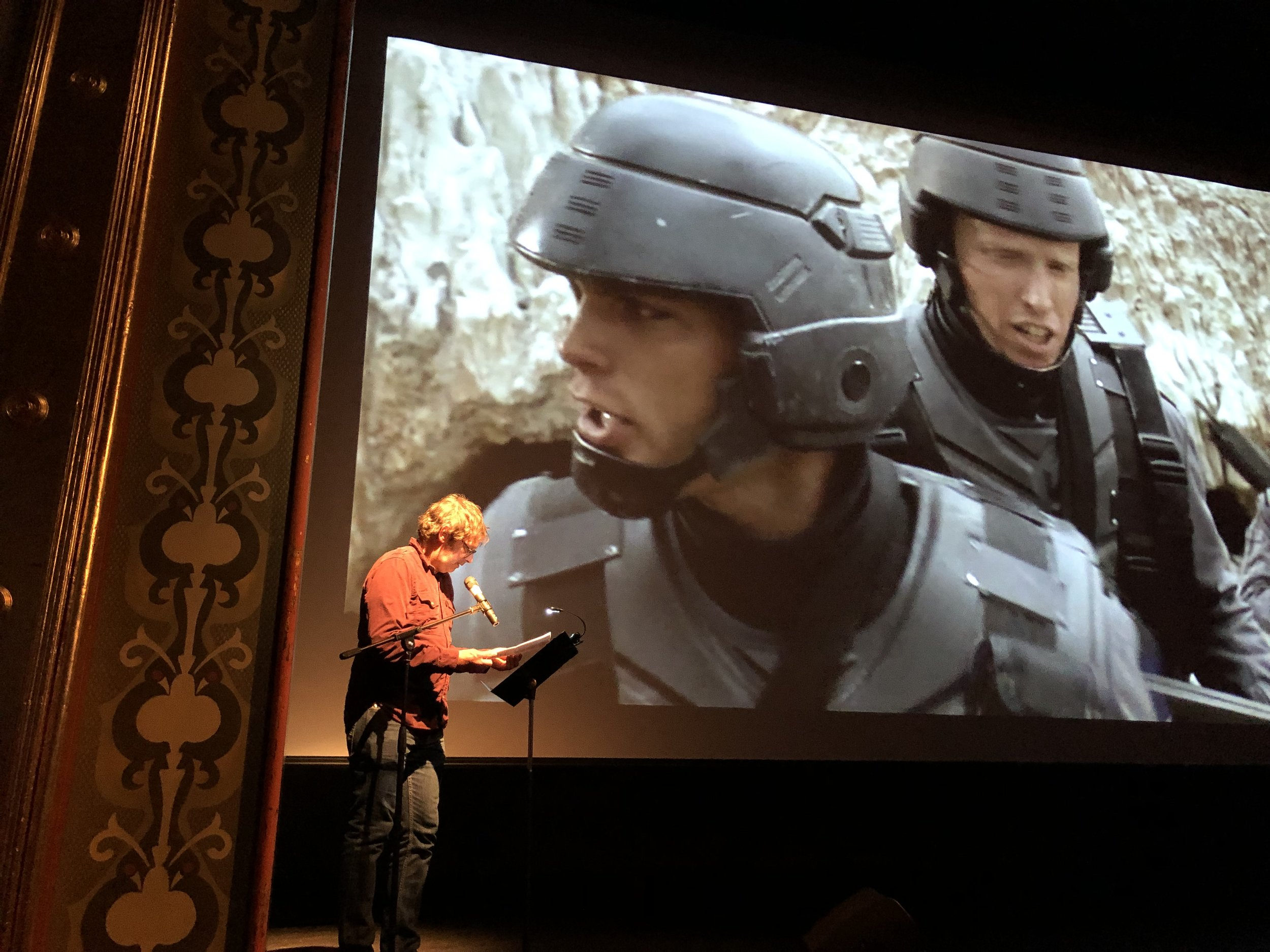 """Anselm Berrigan in a neo-benshi performance of """"Starship Troopers"""""""