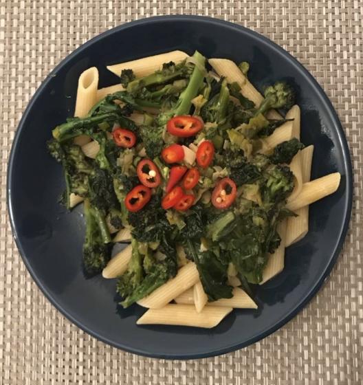 Purple broccoli and kale pasta