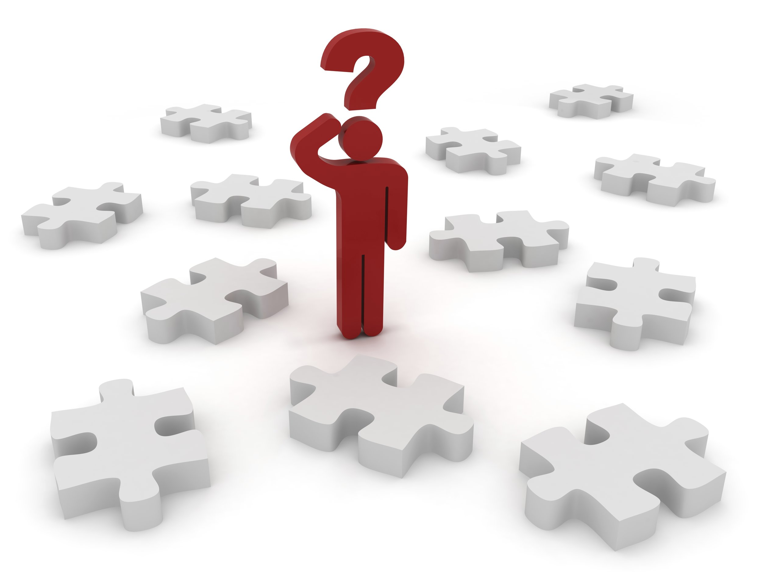 3d stick figure standing with puzzle pieces around with question mark over head