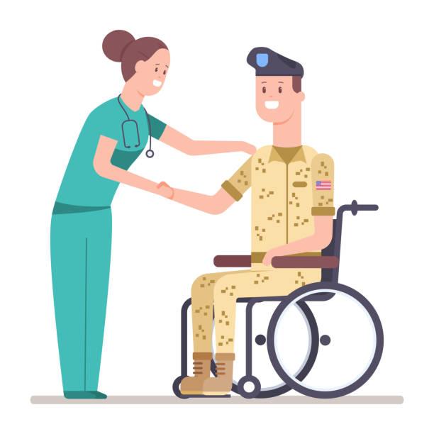 Nurse in green scrubs helping man in military uniform in wheelchair