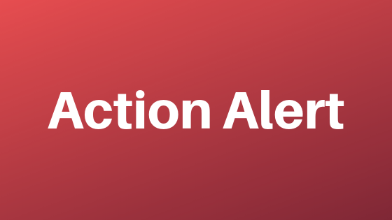 Action Alert in bold white letters on red background
