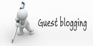 White stick figure holding a giant pen next to title Guest Blogging