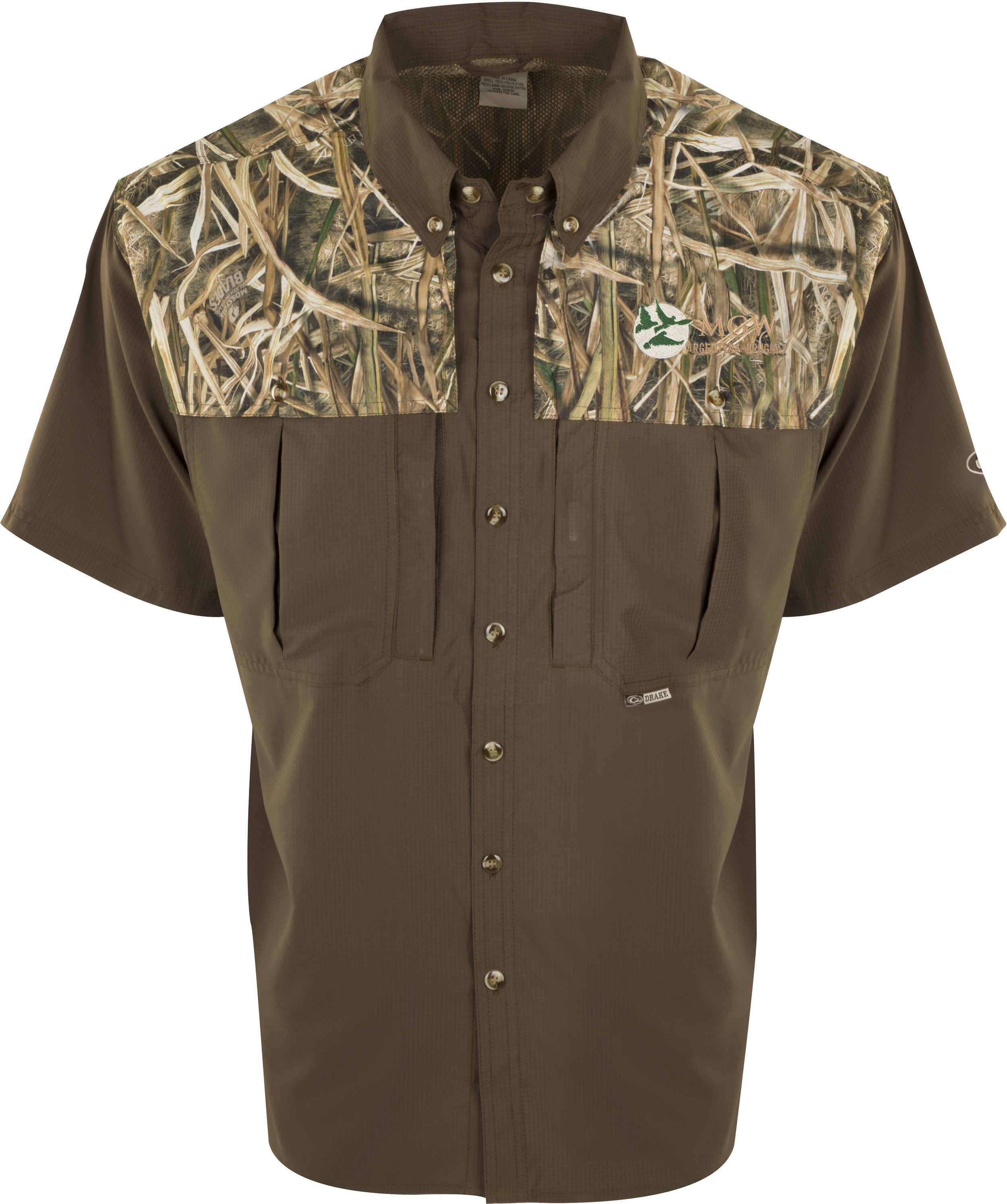 Drake Two-Tone Blades Camo Flyweight Wingshooter's Shirt S/S  - $80