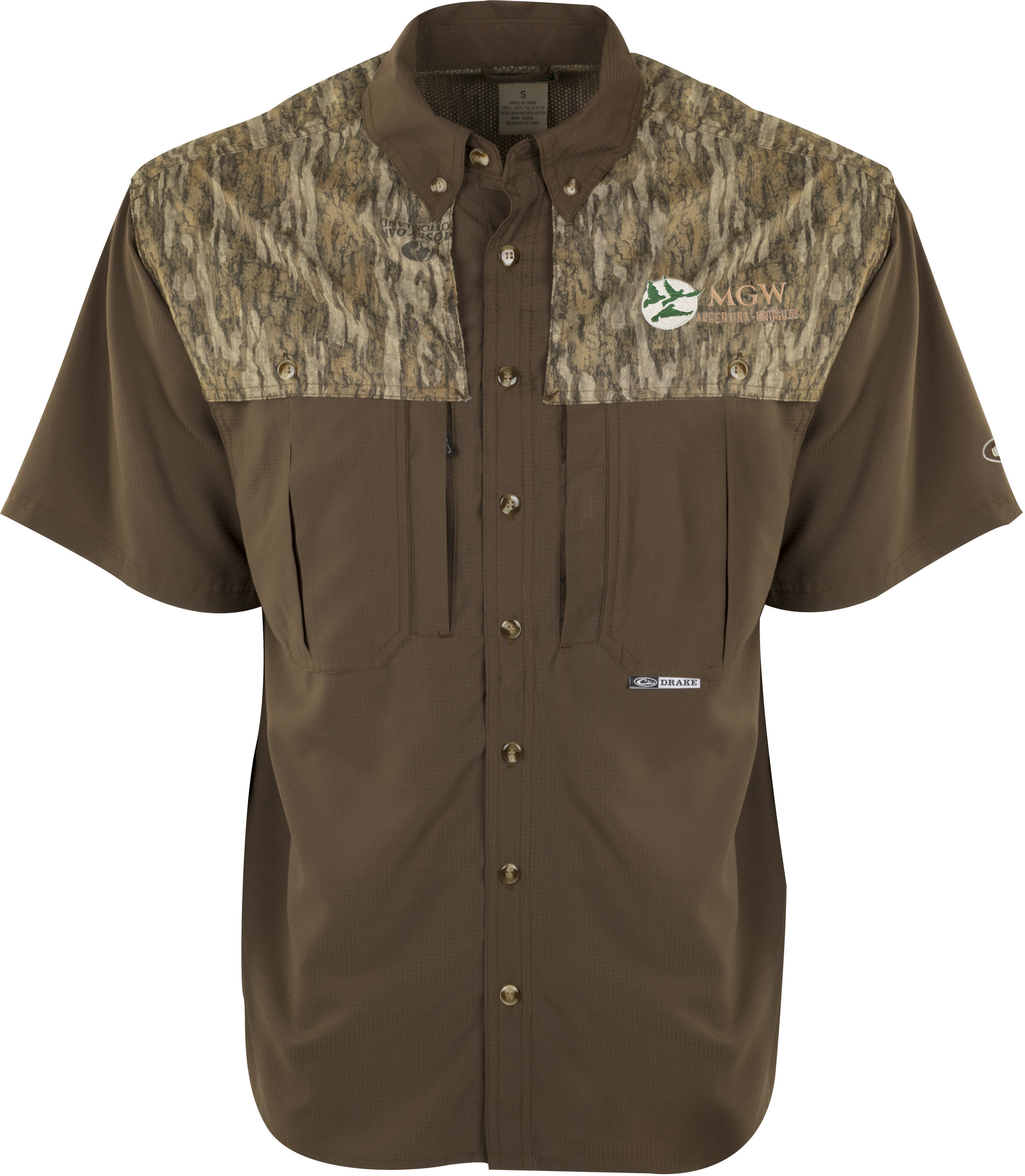 Drake Two-Tone Bottomland Camo Flyweight Wingshooter's Shirt S/S - $80