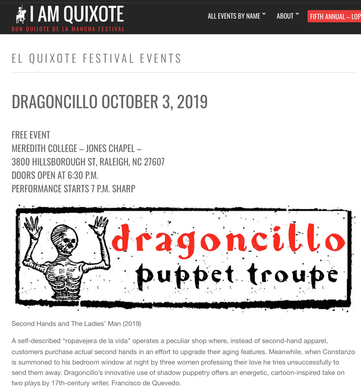 Dragoncillo was at the fifth annual I AM QUIXOTE FESTIVAL, in Raleigh, North Carolina, October 3-4, 2019! - For more information visit:https://iamquixote.com/service/dragoncillo/