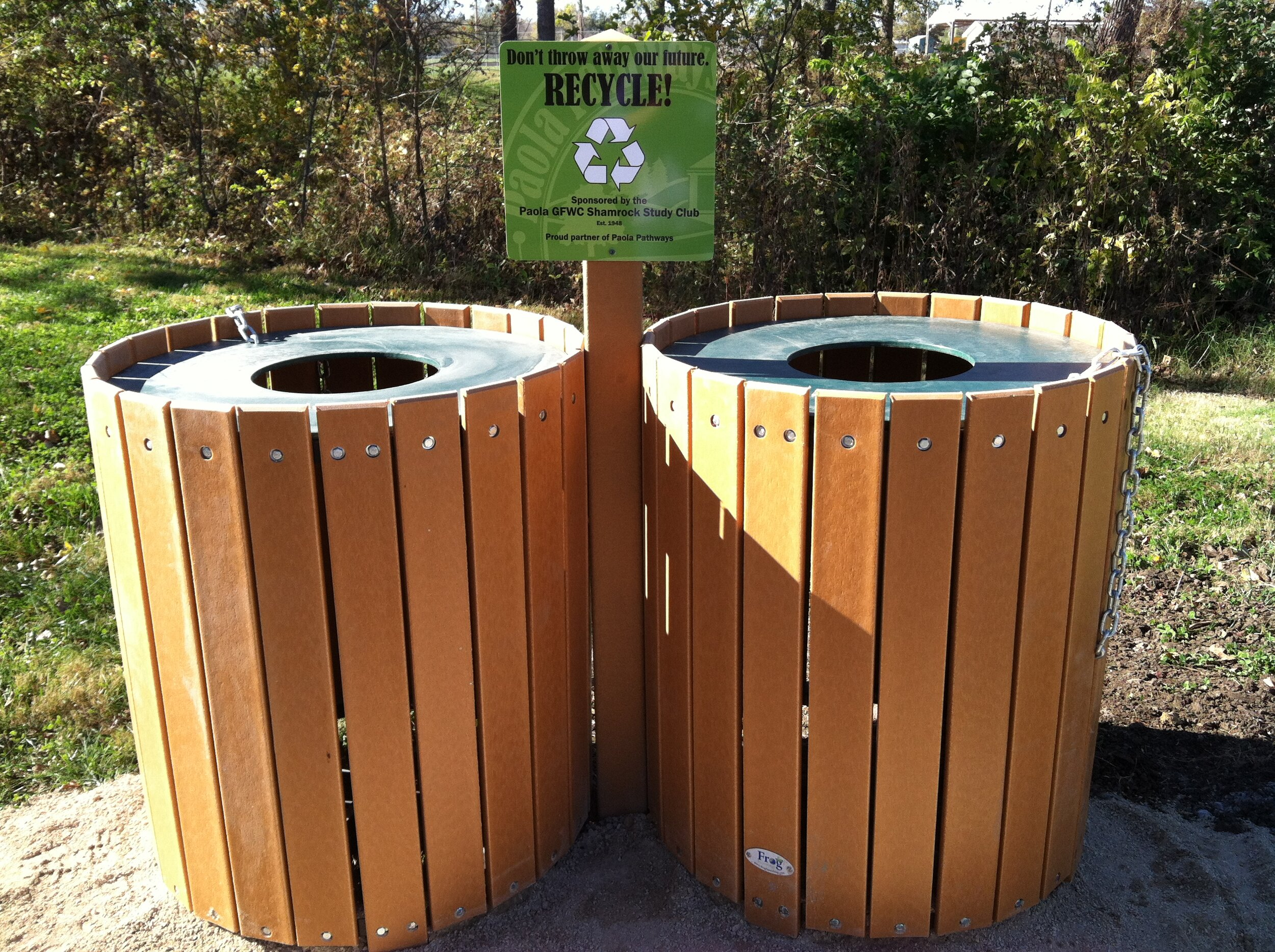 Sponsored recycle/trash combo units installed at each trailhead.