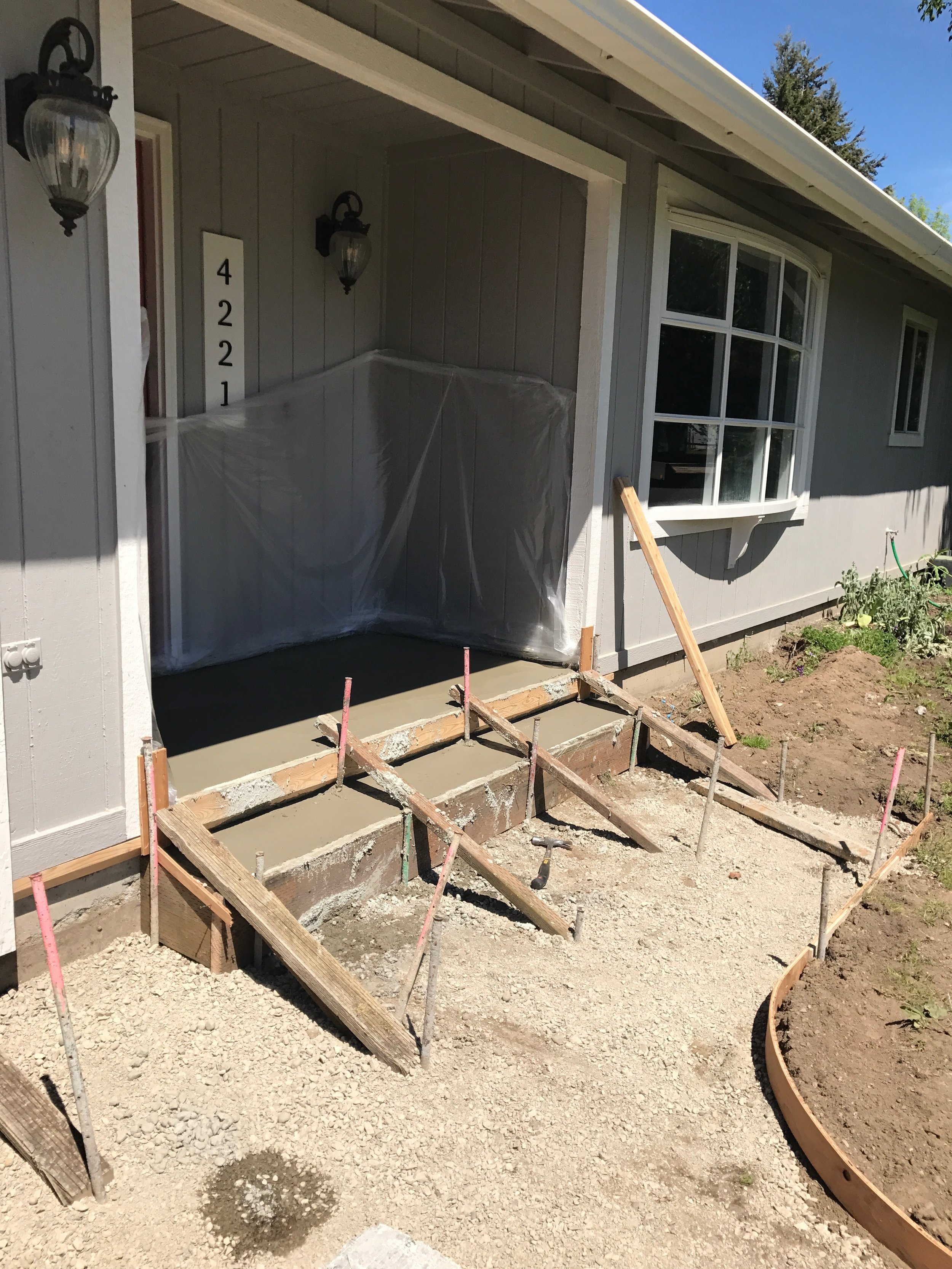 Replacement Front Porch, Stairs, & Sidewalk
