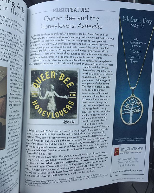 """Asheville now has a soundtrack. A debut release by Queen Bee and the Honeylovers features original songs with a vivacious and nostalgic sound, and lyrics that celebrate the city's past and present."" Thanks so much for this @thelaurelofasheville! #albumreview #albumreviews #laurelofasheville #avlmusic #avlmusicscene #avlmusicians #iheartavl #828isgreat #originalsong #originalmusic #originalmusiconly #swingmusic #albumrelease #ogjazz #jazz #avlhistory"